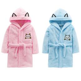 Discount cartoon kids wear - Baby Flannel Bathrobe Robes Kids Cartoon Cat Sleepwear Hooded Children's Bathrobes Boys Girls Pajamas Enfant Home Wear C