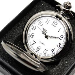 Quartz Box Australia - Smooth Black Silver Case Quartz Pocket Watch Full Hunter Gift Box Women Men Fob Watch Clock Arabic Wholesale relogio de bolso