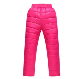 China Winter Down Pants Boys Girls Solid Parka Warm Trousers Casual Elastic High Waisted Kid Pant Children's Down Pants Long Trousers cheap kids warm down pants suppliers