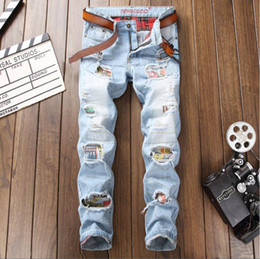 $enCountryForm.capitalKeyWord Australia - Fashion Men Distressed Ripped Light Blue Jeans Brand Designer Washed patchwork Slim Fit Straight leg panelled Denim Pants 341