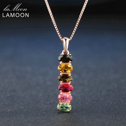 multi tourmaline NZ - Lamoon Classic Natural Multi-Color Oval Tourmaline 925 Sterling Silver Chain Pendant Necklace Rose Gold Plated S925 LMNI048Y1882701