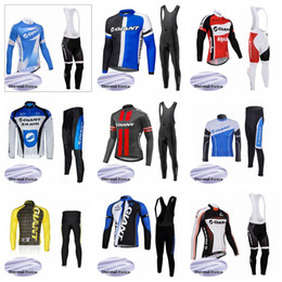 giant bicycle team jersey 2019 - Giant Pro Team Fleece Thermal Cycling Jersey and Bib Pants Winter Long Sleeve Bicycle Clothing Mens ropa Ciclismo Sportw