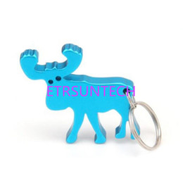 Beer Keychains UK - Creative Elk Design Beer Opener Keychains Aluminum Alloy Bottle Opener Keyring Promotion Gift Free Shipping QW7816