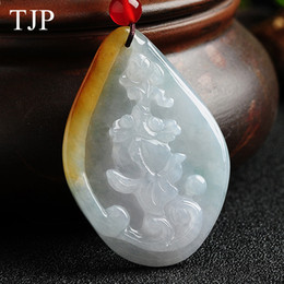emerald jade pendant 2019 - TJP Yellow Emerald Beautiful stone Jade goldfish Jewelry accessories Authentic pendant necklace ABX8145 Free shipping di
