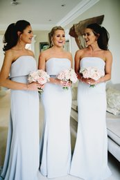 cheap strapless trumpet wedding dresses UK - Beach Simple Cheap Mermaid Bridesmaid Dresses Strapless Floor Length Wedding Guest Dresses Formal Maid of Honor Wedding Party