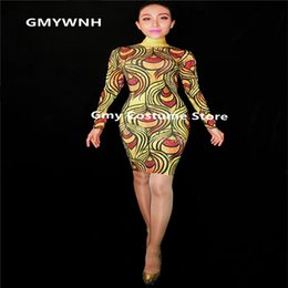 56aa8659b0 K11 Female Printed short bag hip skirt female dresses sexy bodysuit bar  outfit prom pole dance costumes dj jumpsuit cosplay dress rave show
