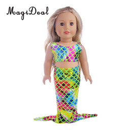 a0c66b992f 1Set Colorful Mermaid Summer Swimming Swimwear Swimsuit Outfit for 18 Inch  American Girl Dolls Clothes Accs