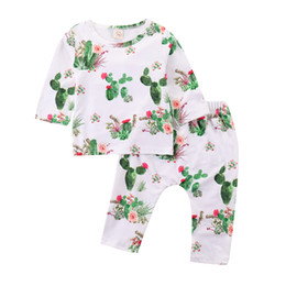 Cute Outfits For Spring Australia - Mikrdoo Toddler Infant Baby Long Sleeve T-shirt + Pant Cactus Printed 2PCS Outfit Cute Cotton Clothes Set For Spring Autumn