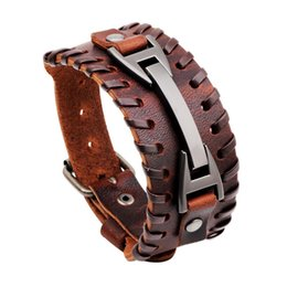 Wholesale ZIRIS Leather Cuff Double Wide black Bracelet and Rope Bangles Brown for Men Fashion Man Bracelet Unisex Jewelry