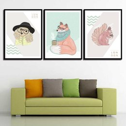 Art Canvas Prints Australia - Art Canvas Nordic HD Prints Posters Nursery Cartoon Animal Fox Wall For Baby Room Painting Picture Kids Bedroom Decoration