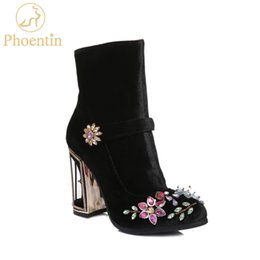 high shoes zippers for men UK - Phoentin black rhinestone flower women boots for wedding retro ladies ankle boots bird cage high heels zipper velvet shoes FT466