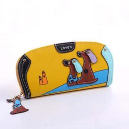Dog Zipper Australia - Fashion Cute Long Wallet Women PU Leather Cartoon Dog Wallets Lady Clutch Puppy Zipper Card Holder Female Change Purses