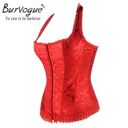 bc04c4ddbe9 Burvogue Hot Shaper Woman Corset Black Red Lace Bustier Tops With Straps  Corselet Fashion Halter Neck Overbust Corset Lace
