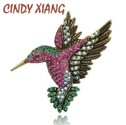 rhinestone hummingbird brooch NZ - CINDY XIANG Colorful Rhinestone Hummingbird Brooch Animal Brooches for Women Korea Fashion Accessories Factory Direct Wholesale