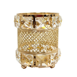 Crystal Candles online shopping - New Design Gold Candle Holders Big Crystal Wedding Table Centerpieces Party Event Candlestick Pillar Candelabras For Home Decoration