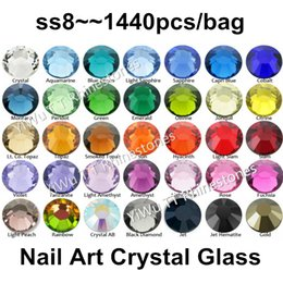 glitter glue NZ - Wholesale 1440PCS SS8 (2.3-2.4mm) Multi Colors Flat Back Glue On Non Hotfix Rhinestones 3D nail art decoration glitter strass
