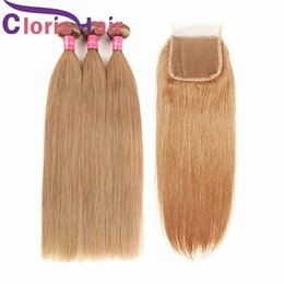 cheap straight blonde hair extensions 2019 - Silk Straight Blonde Bundles Malaysian Virgin Human Hair Weaves With Closure Cheap Honey Blonde 4x4 Top Closures #27 Mal