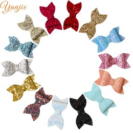 $enCountryForm.capitalKeyWord NZ - 14pcs lot 3.5'' Shimmery Mini Leather Bows For Girls Glitter Sequin Hair Bow Hair Clips Kids Birthday Party DIY Accessories