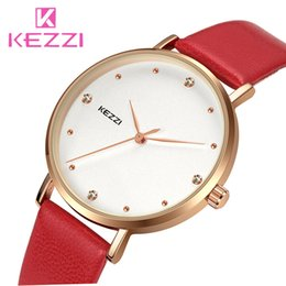 kezzi watches Canada - KEZZI Rose Gold Crystal Women Watches Fashion Ladies Bracelet Leather Strap Watch Casual Quartz Wristwatch