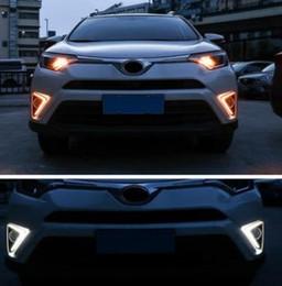 ToyoTa rav4 lighTs online shopping - For Toyota RAV4 Yellow Turning Signal Waterproof ABS V Car DRL LED Daytime Running Light With Fog Lamp Hole
