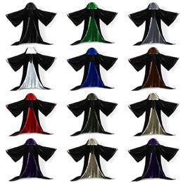 Nylon Coating Australia - Long Sleeves Velvet Hooded Cloak Wedding Cape Wedding Hooded Cloak Coat Velvet Wicca Robe Vampire Cape Shawl Halloween Cosplay