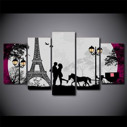 Discount piece canvas eiffel tower - HD Printed 5 Piece Canvas Art Paris Eiffel Tower Moon Canvas Prints Wall Pictures for Living Room Modern Free Shipping