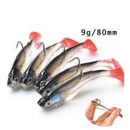 T Bait Australia - 10pcs 3D Eyes Soft Lead Fishing Lure With T Tail Soft Fishing Lure Single Hooks Artificial bait Jig Wobblers Rubber 80mm 9g