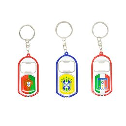 China 2018 Russia World Cup Practical Key Buckle Bottle Opener LED Flashlights Keychain National Flag Design Keys Charms Easy Carry 2 5yb Z supplier keychain buckle gold suppliers