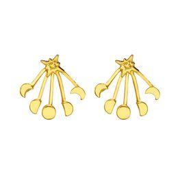 6fad4196c Moon & Star Stud Earrings Two Side stud Earrings Ear Jackets Bridal Jewelry  Women earring Boucle D'oreille