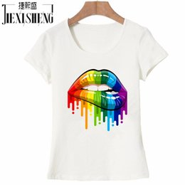 China New women Summer Tops Tees Sexy color Lips Painted t shirt cotton Short Sleeve brand fashion round neck tshirt HH240 cheap sexy painting s suppliers