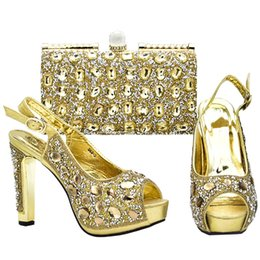 China Italian Shoes and Bags To Match Shoes with Bag Set Decorated with Rhinestone Wedding Shoe and Bag Sets Italian Nigerian Shoes suppliers