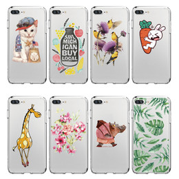 iphone bird silicone case NZ - Giraffe Rhinoceros Rabbit Kitten Bird Design Soft Silicone Case for Iphone X 8 7 Samsung S8 Case Customize all Models Free shipping