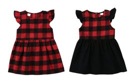 Chinese Pageant Dresses NZ - 2018 Kid Baby Girls Plaid Tutu Dress Black Red Dresses Ruffle Toddler Kids Princess Sleeveless Plaids Party Pageant Button Dresses