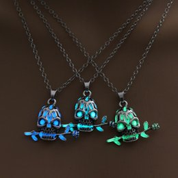 Wholesale Silver Plated Skull Pendant NZ - 2018 Hot silver plated Skull Head Evil angel luminous night long chain pendant Necklace for Women Men Gift Jewelry