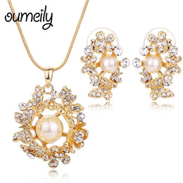 $enCountryForm.capitalKeyWord Australia - OUMEILY Dubai Bridal Jewelry Sets Simulated-pearl Crystal Gold Color Flower Statement Necklace Set for Women Wedding Jewelry Set
