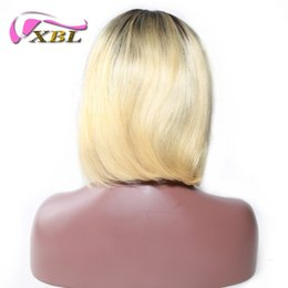Discount indian women blonde hair - XBLHAIR Short Bob Cut Human Hair Wigs For Women 1b 613 Black Root Ombre Blonde Wig 150 Density With Baby Hair Remy Strai