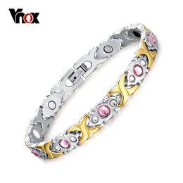 wholesale pink gift sets 2019 - Vnox Pink Crystal Stone Magnet Health Bracelets for Women Bio Energy femme Gift 2018 discount wholesale pink gift sets