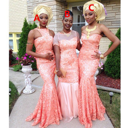 nigerian red coral beads 2019 - Mermaid Lace Coral Bridesmaid Dresses Different Styles Same Color Sexy Wedding Guest Dress African Nigerian Lace Dress 2
