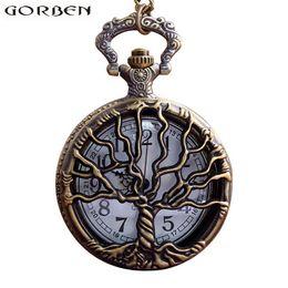 tree pendant for men 2019 - Retro Antique Bronze Hollow Tree Quartz Pocket Watch Necklace for Men Women Chain Pendant Gift cheap tree pendant for me