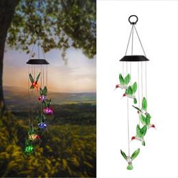Colore solare che cambia LED Hummingbird campanelli eolici Home Garden Yard Decor Light Lamp