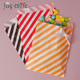 cheap food gifts Canada - cheap 25pcs paper Candy bag gift bags Diagonal stripes Favor BUFFET BAGS New year Wedding decoration Party Favor Food Packaging