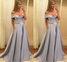 $enCountryForm.capitalKeyWord Australia - 2019 Grey Off Shoulder Formal Dresses Bow Ribbon Open Back Satin Simple Prom Dress Evening Gowns Red Carpet Dress Custom Made
