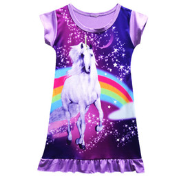 Wholesale Unicorn Dress Night Skirt T shirts For Girls Cartoon Nightdress Nightgown Sleepshirts Sleepwear Nightwear Colors cm HOT