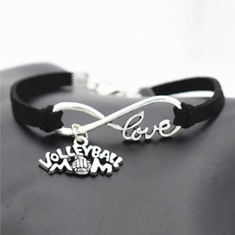 $enCountryForm.capitalKeyWord Australia - New Simple Infinity Love Volleyball Mom Game Team Sports Pendants Bracelets for Women Men Black Leather Suede Rope Mujer Party Gifts Jewelry