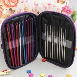 Wholesale Multi-color Aluminum Handle Crochet Hooks Kit Yarn Stitches Knitting Needles Weave Craft Sewing Tools With Case for Baby Sweater 22PCS Set
