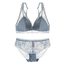 b41697a641783 2018 new wireless sexy lace intimates 32-38 A-C thin cotton cup comfortable  bralette women underwear sets ladies French bra set