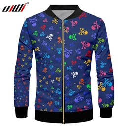 Small Size Coats NZ - UJWI Man Colored Creative Zip Jacket 3D Printed Funny Small Skull Trend Sports Wholesale Casual Large Size Coat 6XL