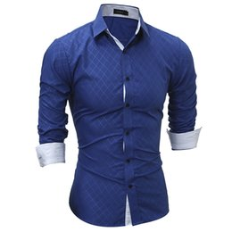 Wholesale long dresses xxl size resale online – Men Shirts New Fashion Clothing Long Sleeve Cotton Men Quilted Shirts Business Casual Tops Slim Fit Dress Plus Size XXL