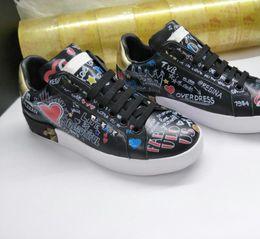 models shoe size 2019 - Women shoes PRINTED CALFSKIN PORTOFINO SNEAKERS Luxury Brand Graffiti Woman designer shoes Size 35-40 model HZH03 discou