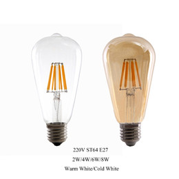 Chinese  2W 4W 6W 8W E27 LED Light ST64 LED bulb Retro Edison Clear Amber Cover 220V LED Filament Antique Vintage Glass lamp manufacturers